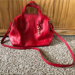 Red Fossil Purse with Handles and Detachable Strap